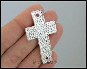 BULK 25 SILVER Sideways curved CROSS Connector Link - Large 47x27mm Textured Hammered Cross Link Metal Charm - Instant Ship from USa - 6384