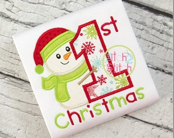 First Christmas with Snowman - Embroidered and Personalized Shirt