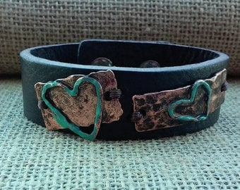 Brown Leather Cuff, Patina Heart Cuff