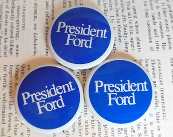 Vintage Ford Campaign Button President Metal Blue White 70's  (item 12)