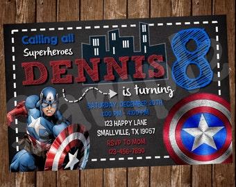 Captain America Birthday Invitation (CA02)