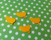 50 yellow chicks hand punched die cuts, confetti, paper punches  banners, invitations, 1 inch in size,