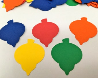 50 CHRISTMAS ORNAMENT punches  red, yellow,green,orange and blue Hand Punched Die Cuts Confetti, Christmas,scrapbooking, cards