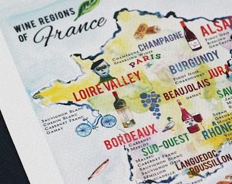 French Wine Map, wine print, french wine print, 5x7