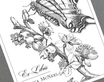 Butterfly Bookplate,Butterfly Book Sticker,Ex Libris,From the Library of,Botanical Bookplate,Personalized - Set of 24