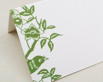 Floral Place cards,Bird Place Cards,Placecards,Green, Set of 12