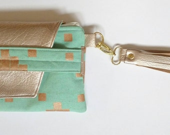 Turquoise and gold flap clutch