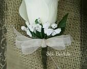 Ivory cream Rose Boutonniere  Groom groomsman bridal silk wedding flowers