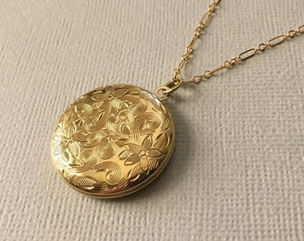 Gold Locket Necklace -Gold Round Locket - Gold Victorian Locket -Large Gold Locket -Poinsettia Locket -Beautiful Gift