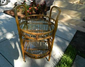 Vintage Rolling Bar, Rattan Cart, Bamboo Cart, Serving Cart, Tiki Bar Cart, Round Rolling Cart