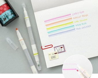 2 Ways Pen - Special for Journal Planner and Scrapbook - Light Series - 5 Pcs