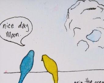Nice Day Moon | Birds on a Wire | Birds | Bird Art | Bird Painting | Yellow | Blue | Watercolor | Moon Art | Tiny paintings | Wall Art