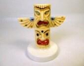 Vintage TOTEM POLE TOOTHPICK Holder - Bone China - Native American Indian - Kitchen - Restaurant Decor - Prop
