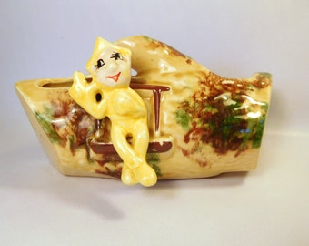 Vintage ELF - PIXIE on a Log Planter / Elf - Fairy House / Mid-Century Ceramic - Pottery / Yellow / Woodland