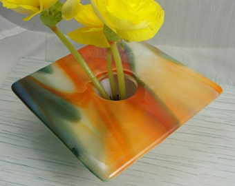 Fused Glass Ikebana Vase Green Orange and White Home Decor Flowers Bowl Table Vase Bud Vase Gifts Under 75 Dollars Gifts for Him or Her