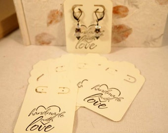 Ivory Earring Cards, Card Stock Paper Earring Cards, 20 Earring Cards, Leverback Earring Cards, Supplies.