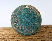 Verdigris Copper Pendant, 23mm OD, Embossed Copper Flower Pattern  Lot 7, Ready to Ship