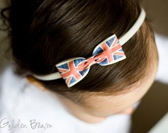 Union Jack Bow Headband - London - England Bow - Small British Bow Handmade Headband - Baby to Adult Headband