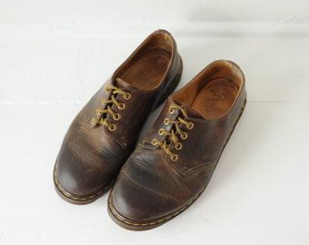 Vintage Dr. Martens Brown Leather Oxford Shoes, Made in England, Mens UK 11, US 12