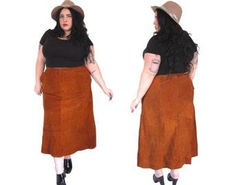 Plus Size Skirt l Deadstock Rust Suede Long Skirt l Size 18 l Vintage Skirt