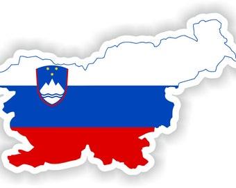 Slovenia Map Flag Silhouette Sticker for Laptop Book Fridge Guitar Motorcycle Helmet ToolBox Door PC Boat
