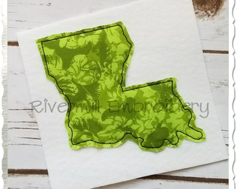 Raggy Applique State of Louisiana Machine Embroidery Design - 4 Sizes