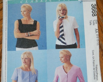Retired McCalls Palmer Plestsch Classic Fit Shirt  Pattern 3668 Size 6 8 10 12 Misses