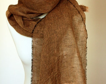Scarf pure airy linen light brown  Ready to ship