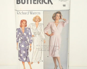 Vintage Butterick 1986 Uncut Misses Dress Mock Dress Wrap, Mid-Calf Or Evening Length Designer Richard Warren Size 16 Pattern Number 3751
