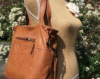 Recycled leather bag - Hobo style bag -dark tan leather-shoulder-hand held-crossbody- detachable adjustable strap-closes with a ZIP.