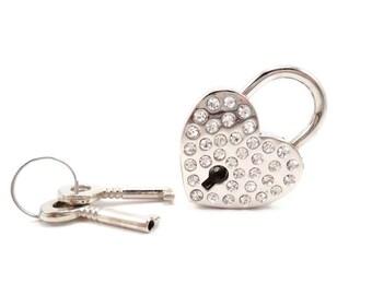 Rhinestone Heart Shaped Lock, Crystal Heart Lock, Collar Lock