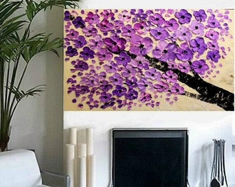 """SALE Large 36"""" Original Oil abstract Purple BlossomContemporary palette knife abstract Blossom Tree  painting by Nicolette Vaughan Horner"""