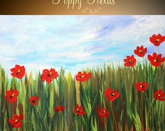 Sale ORIGINAL Abstract oil Contemporary modern fine  art  abstract Red Poppies  painting  by Nicolette Vaughan Horner