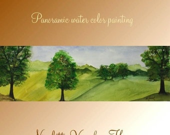 Sale Original Panoramic watercolor painting on High quality 300lb French Rag paper  by Nicolette Vaughan Horner