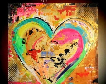 """Sale Original 36""""gallery canvas Abstract HEART painting,Original comtemporary Art,lots of texture Ready to hang  by Nicolette Vaughan Horner"""