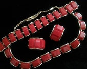 Valentine's Day Gift Idea Vintage Red Lucite Necklace & Bracelet Earrings Parure 1950's Collectible Jewelry Set Rockabilly Mad Men Mod