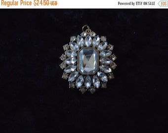 Now On Sale Vintage Rhinestone Necklace Pendant 1960s 1970s Retro Collectible Costume Jewelry Mad Men Mod Rockabilly Accessories