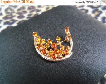 Now On Sale Vintage Rhinestone Brooch Moon Shaped Amber Colored Rivoli Stones