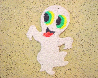 Melted Plastic Popcorn Halloween Ghost Vintage 1970's Wall window hanging decoration Art