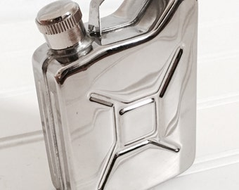 Gas Can Flask - Stainless Steel Travel Flask - Car Lover Gift - Vintage Barware - Home Bar