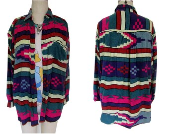 Aztec Tribal Colorful Print Baggy Button Down WEstern Soft Shirt
