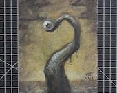 Tenteyecle Original Painting Horror LoveCraft Tentacle Eye Ocean