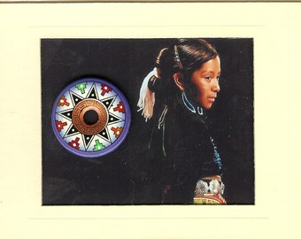 Hand Painted Pendant with American Indian Girl Image