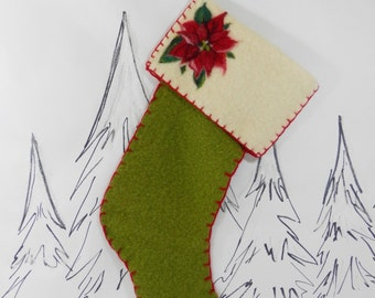 Sale.  Ready to mail.  Needle felted wool Christmas stocking with poinsettia, green and red, mantle decor, felt poinsettia