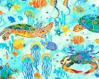 TRANQUIL TIDES Northcott by the yard cotton quilt fabric Sea Life in the ocean-turtles, fish, seahorse, jelly fish 21031-62