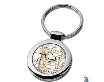Map Keychain Ft Smith Arkansas Key Ring Fob