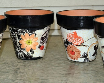 Halloween Harvest Decorative Decoupage Flower Pot
