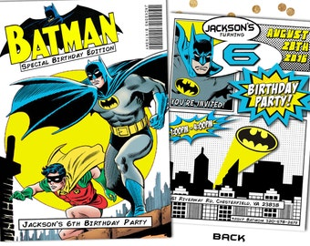 Batman Invitation Batman Birthday Party Comic Book Invitation Customized Superhero Invitation PRINTABLE