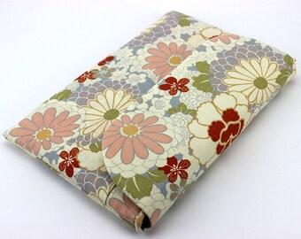 "Handmade 12"" Macbook Case with Pockets, Fabric Padded Laptop Sleeve Pop Flowers Chrysanthemum Grey White"
