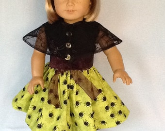 18 inch doll Halloween dress and Spider cape.  Fits American  Girl dolls.